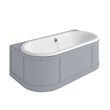 Burlington London Back to Wall Bath with Curved Surround, Overflow and Waste - Classic Grey